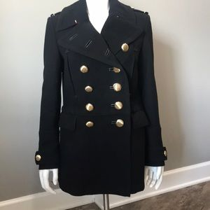 Burberry Double Breasted Black Wool Coat